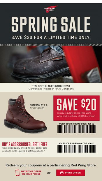 photograph about Red Wings Boots Printable Coupons named Redeem This Coupon: Pink Wing Operate Boot Personal savings - Pink Wing