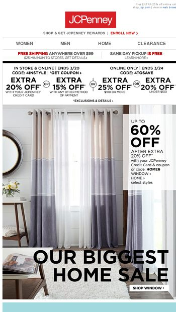 6a960f2cb Up to 60% OFF! Biggest Home Sale + HOME BIG BUYS - JCPenney Email Archive