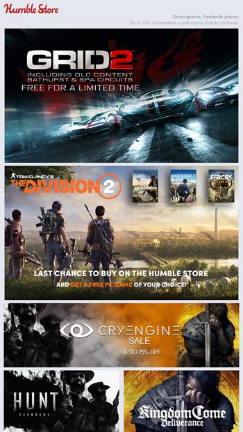 FREE: GRID 2 + Up to 75% off CryEngine games & The Division 2 out
