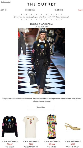4b5240a3 It's La Dolce Vita in your wardrobe with Dolce & Gabbana - THE OUTNET Email  Archive