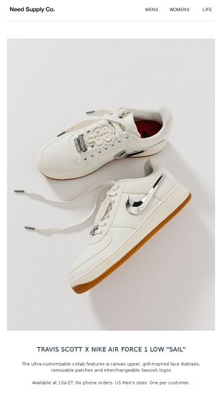 new product abddb 45887 Travis Scott x Nike Air Force 1 - Need Supply Co. Email Archive