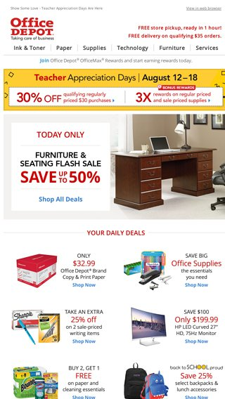 Furniture Sale Is Ending In A Flash Office Depot Email Archive