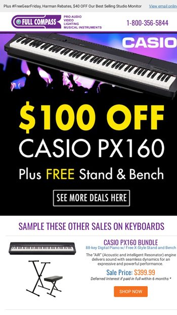$100 OFF the Casio PX160 Keyboard Bundle! - Full Compass