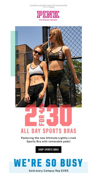 2105056b32 2 for  30 Sports Bras   a FREE Duffle! - Victoria s Secret Email Archive