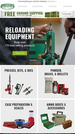 Sportsman's is your reloading equipment headquarters  - Sportsman's