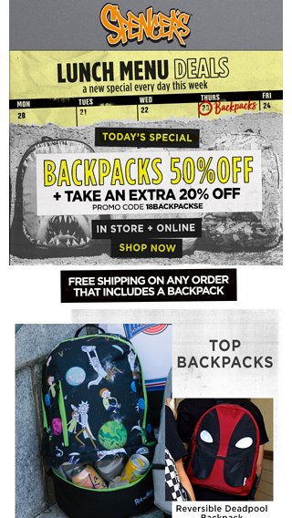 6d3e6ed24038 You can t afford to pass this up  50% OFF Backpacks being served - Spencer s  Online Email Archive