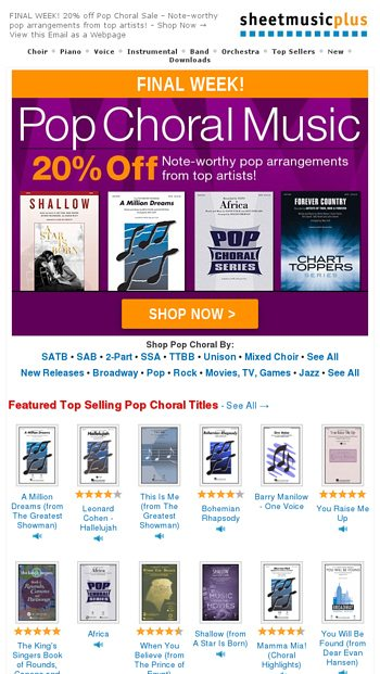 Just ONE WEEK LEFT! 20% Off Pop Choral Hits - Sheet Music