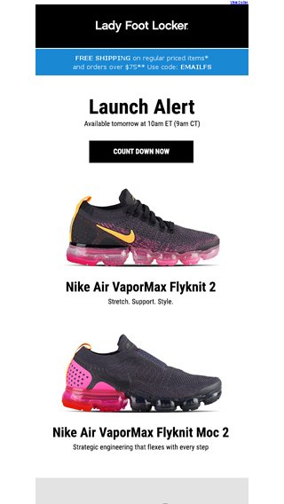 a95f8fda7153 New Nike VaporMax releases – available 8 30 - Lady Foot Locker Email Archive