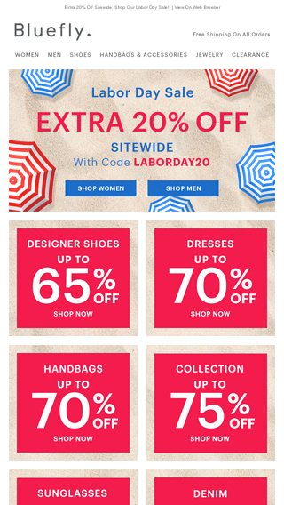5184656b8d43 Designer Steals  Up To 65% Off - Bluefly Email Archive