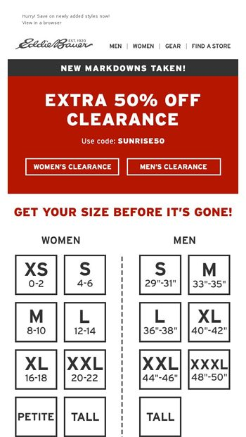 c418db76fc474 Your Extra 50% Off Clearance Code - Eddie Bauer Email Archive