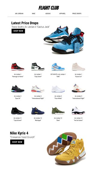 big sale f4d71 651b7 Shop our September Price Drops starting at  135. - Flight Club Email Archive