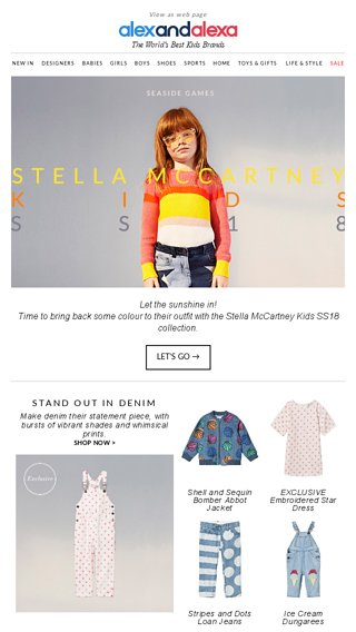 f3c3a4e0e60 Let the sunshine in 🌤🌤 New SS18 Stella McCartney Kids - AlexandAlexa.com  Email Archive