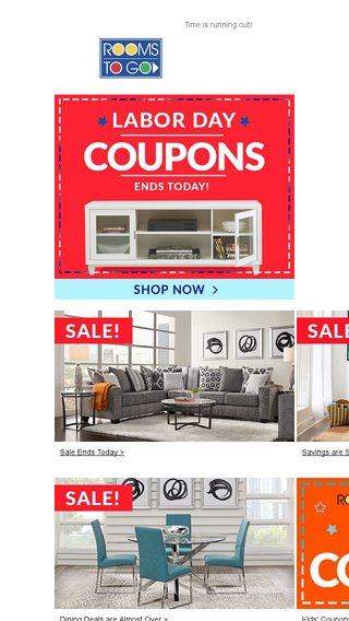 Last Day For Labor Day Coupons Rooms To Go Email Archive