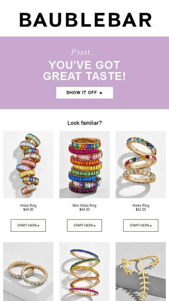 Remember me? - BaubleBar Email Archive
