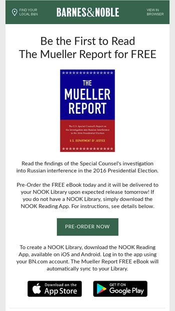 FREE Mueller Report: Exclusively on NOOK - Barnes & Noble