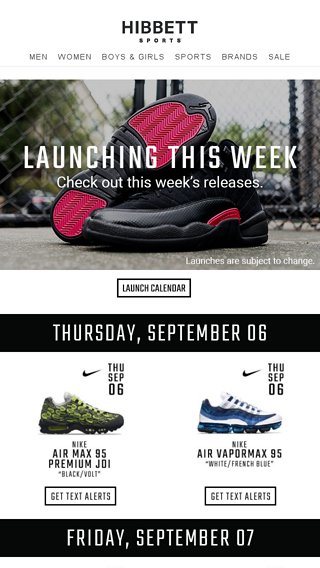84dfa2b1f1f2b Set your alarm! ⏰ New shoes releasing soon! - Hibbett Sports Email ...