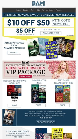 Pre Order September Book Releases Now Save Books A Million Email